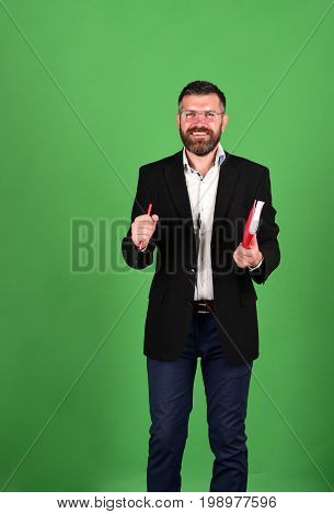 Professor With Happy Smiling Face. Man With Beard And Book