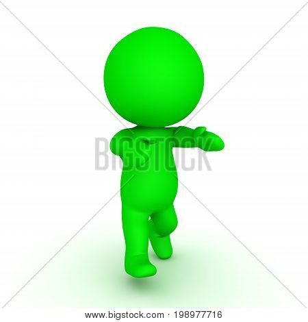 3D Green zombie walking with his arms forward. Isolated on white.