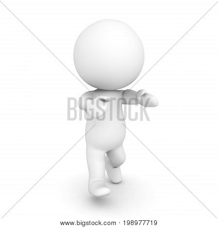 3D Character walking like zombie with his arms In front. Isolated on white.