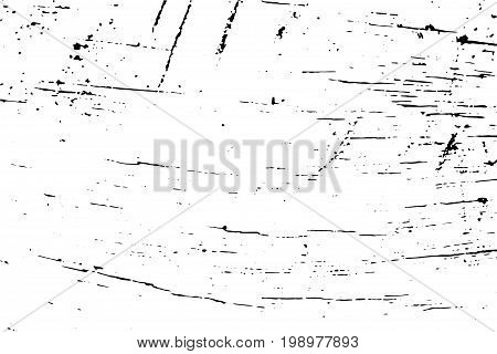 Distressed wood surface vector texture. Shabby chic surface. Black texture on transparent vector overlay. Obsolete timber background. Vintage effect lumber grit texture. Natural wooden board trace