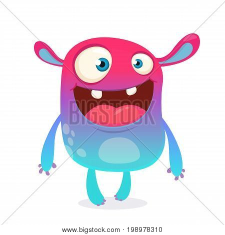 Cool cartoon alien. Purple and pink bizzare colorful alien monster for Halloween. Vector illustration