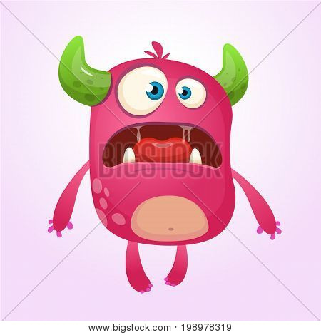 Cartoon pink monster. Monster alien illustration with surprised expression. Shocking pink monster mascot design. Vector Halloween illustration