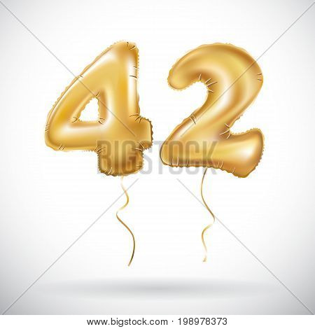 Vector Golden 42 Number Forty-two Metallic Balloon. Party Decoration Golden Balloons. Anniversary Si