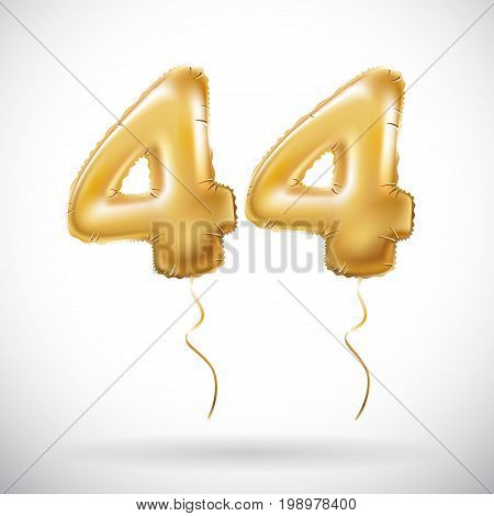 Vector Golden 44 Number Forty-four Metallic Balloon. Party Decoration Golden Balloons. Anniversary S