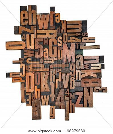 Antique Letterpress Wood Type Printing Blocks On A White Background