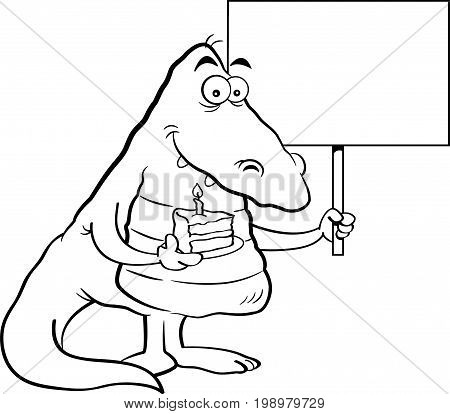 Black and white illustration of an alligator holding a piece of cake and a sign.