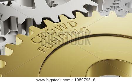 Metal gear wheels with the engraving Crowd Funding - 3d render
