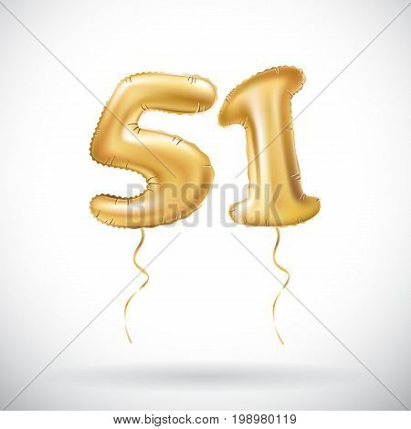 Vector Golden Number 51 Fifty One Metallic Balloon. Party Decoration Golden Balloons. Anniversary Si