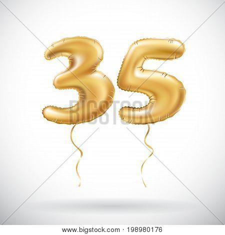 Vector Golden Number 35 Thirty Five Metallic Balloon. Party Decoration Golden Balloons. Anniversary