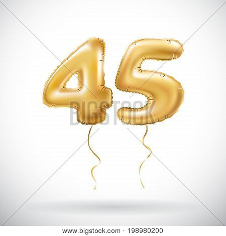 Vector Golden Number 45 Forty Five Metallic Balloon. Party Decoration Golden Balloons. Anniversary S