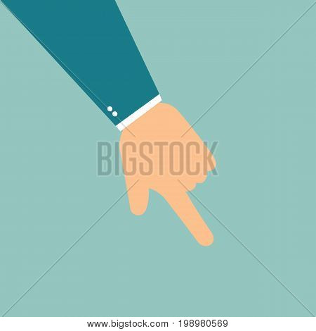 Hand with finger pointing down. Vector stock.