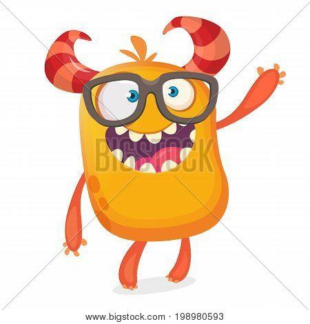 Nerdy happy cartoon monster character wearing eyeglasses. Halloween vector orange and horned monster. Design for emblem or sticker