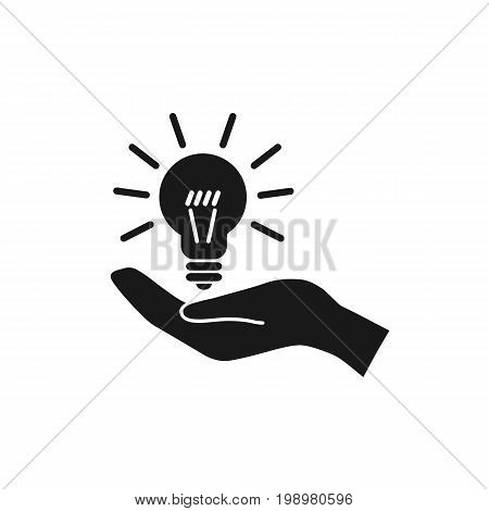 Hand holding an idea light bulb. Concept idea icon. Vector stock.