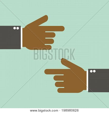 Hand with pointing finger left and right side. Vector stock.