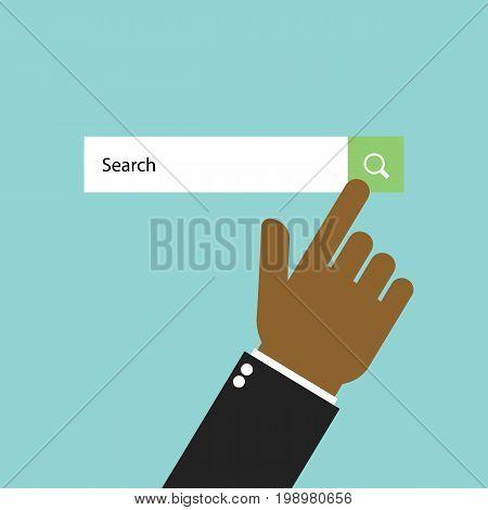 Businessman click search button. Finger touching search button. Searching concept. Vector stock.