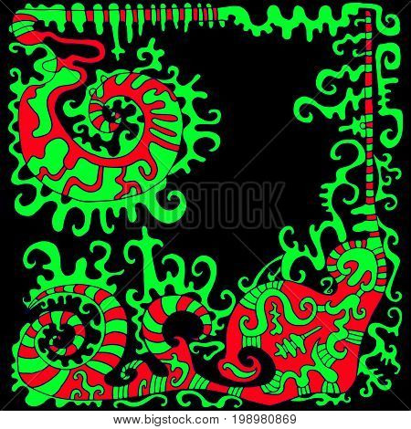 Abstract surreal decorative frame red green color isolated.Vector hand drawn illustration.Colored page for adults and children.Designbooktextileprintposterfabric