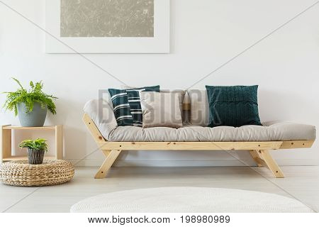 Beige Sofa With Navy Pillows
