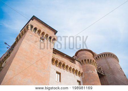 exterior of the santa severa castle in italy