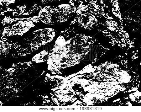 Dark rustic stone wall vector texture. Weathered stone paving surface. Obsolete fortress wall. Monochrome vector texture. Aged stone monochrome overlay for vintage effect. Natural grit trace texture