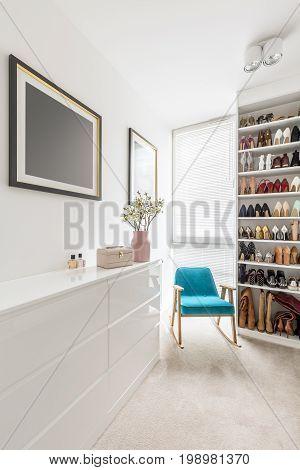Elegant White Walk-in Closet