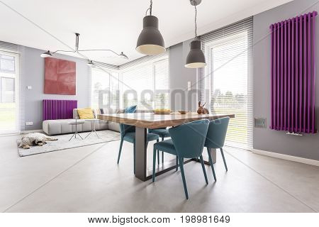 Open Interior With Colorful Accessories