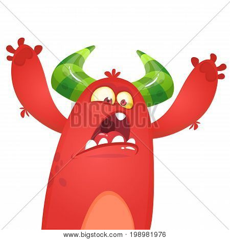 Cartoon angry red monster yelling. Vector illustration of yelling monster for Halloween