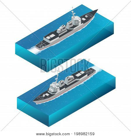 Isometric Guided missile destroyer. Vector hight quality Arleigh Burke-class guided missile destroyer. Military ship.