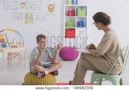 Child Talking To Therapist