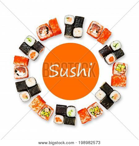 Sushi and rolls restaurant delivery mockup for logo. Japanese food circle platter set isolated on white background, top view