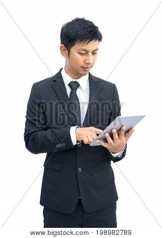 Young businessman working with modern devices, Digital tablet computer and mobile phone isolated on white background, Clipping path