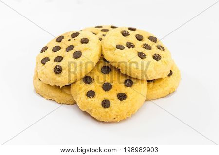Stack of Chocolate chip cookie on white background