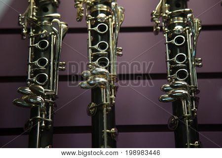 Music jazz musical instruments clarinets store close up