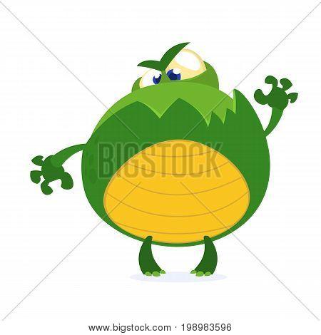 Green monster frog waving kids cartoon. Childish scary green animal amusing character. Vector illustration