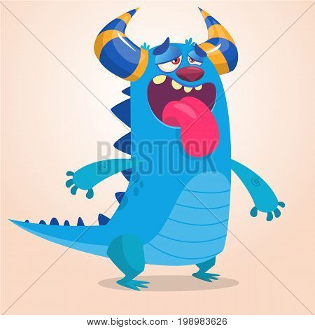 Pleased cartoon monster. Vector illustration of blue monster mascot with pleased and tired expression. Halloween design