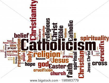 Catholicism word cloud concept. Vector illustration on white