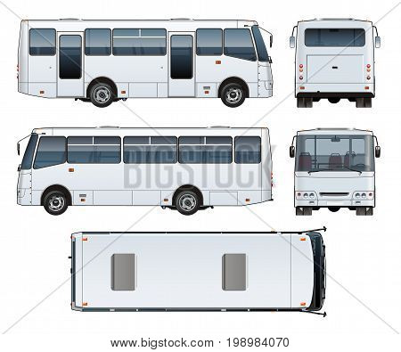 Vector realistic urban passenger mini-bus mock-up for brand identity, isolated on white. EPS-10 separated by groups and layers with transparency effects for one-click repaint and easy edit.