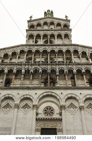 LUCCA, ITALY - AUGUST 15 2015: San Michele Church facade in Lucca Italy