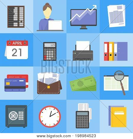 Modern design vector illustration flat icon set of financial service items, business management symbol, banking accounting and money objects.