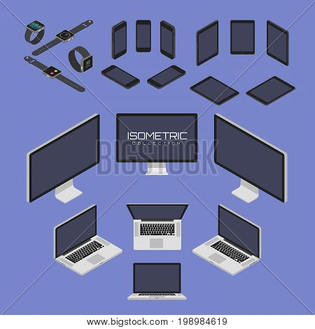 Set of Mobile phone, smart watch, tablet, laptop, computer from four sides icon set vector graphic illustration. Isometric view of the front, back, right, left and top.