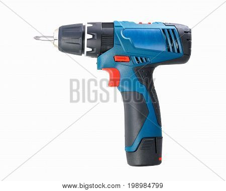 Electric drill isolated on white background, Electric drill for wood and metal