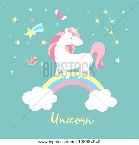 Unicorn on rainbow. Cute magic background with unicorn, rainbow and stars. Catroon flat style vector illustration
