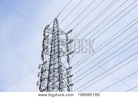 Wire Electric Telecom post and cable wth blue sky background, Technology concept, Communication concept