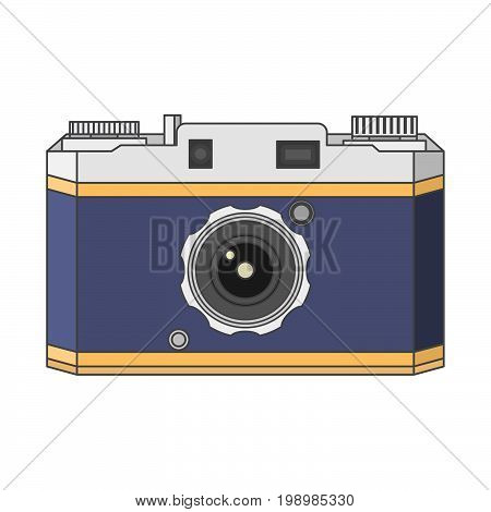 Old a retro the vintage camera in flat style a vector.Camera concept for design of the websites and polygraphy