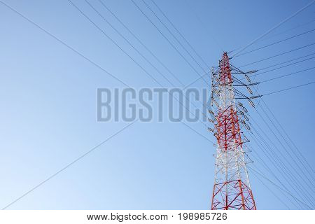 Wire Electric cable Telecom post with blue sky background technology concept