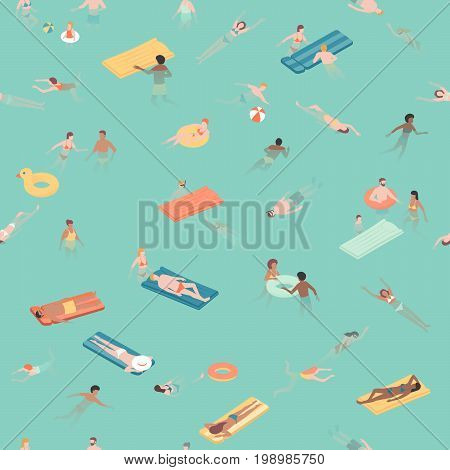 Happy people relaxing and swimming together in the sea the are relaxing and diving into the water seamless pattern