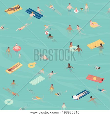 Happy people relaxing and swimming together in the sea the are relaxing and diving into the water