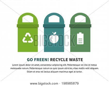 Trash segregation recycling concept illustration, flat vector