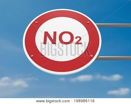 German Traffic Sign Environmental Protection Concept: NO2 Carbon Dioxide Prohibited Driving Ban 3d illustration