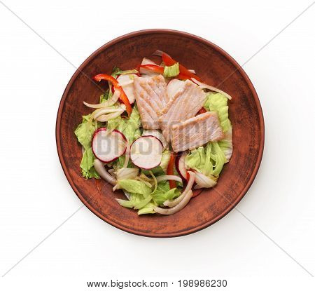 Healthy japanese restaurant food isolated at white. Bowl of steamed salmon and iceberg lettuce, red bell pepper salad with radish and onion. Asian cuisine, top view