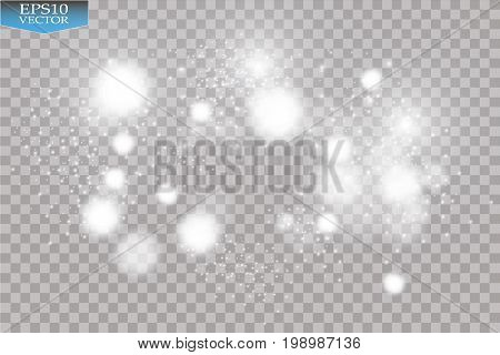 Abstract white bokeh effect explosion with sparks modern design. Glow star burst or firework light effect. Sparkles light vector transparent background. Christmas Concept. Flicker magic effect